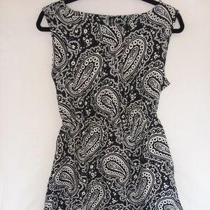 Black & white paisley print summer dress sz M